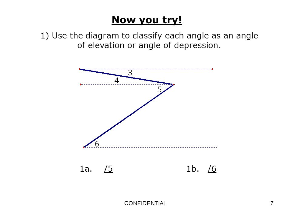Now you try! 1) Use the diagram to classify each angle as an angle of elevation or angle of depression.