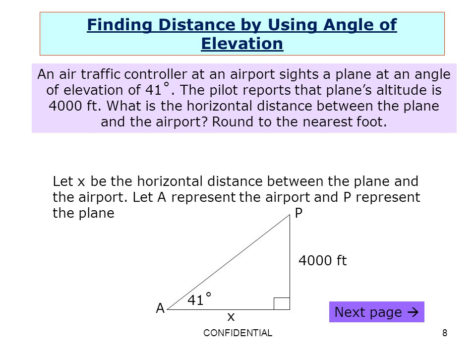 Finding Distance by Using Angle of Elevation