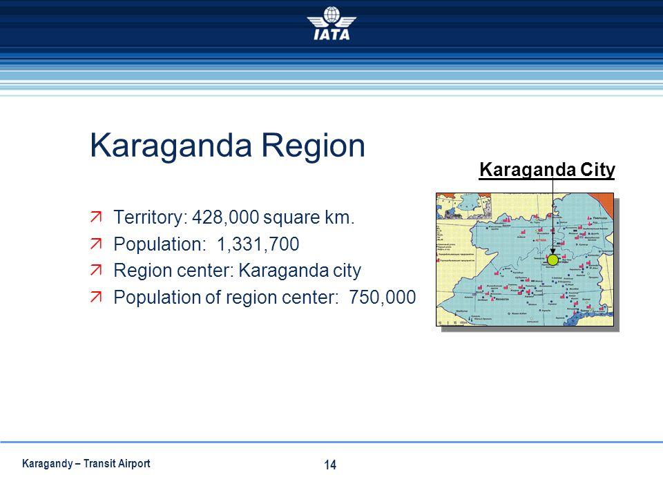 Karaganda Region Karaganda City Territory: 428,000 square km.