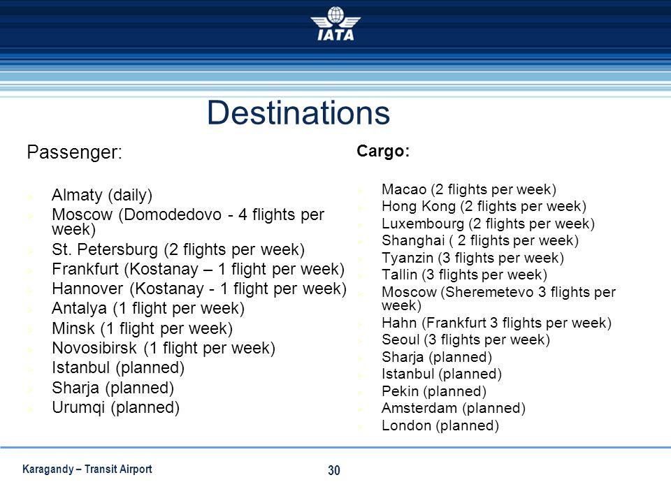 Destinations Passenger: Cargo: Almaty (daily)