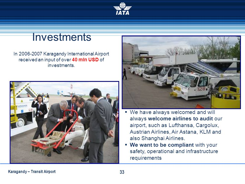Investments In 2006-2007 Karagandy International Airport received an input of over 40 mln USD of investments.