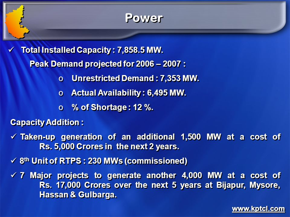 Power Total Installed Capacity : 7,858.5 MW.