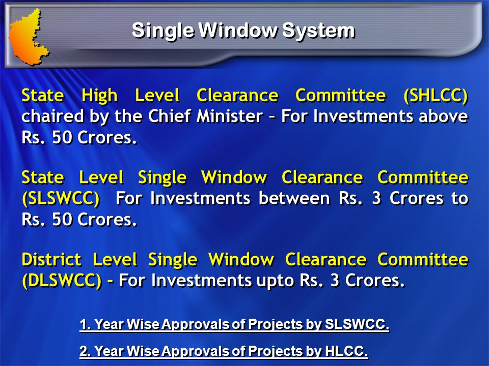 Single Window System State High Level Clearance Committee (SHLCC) chaired by the Chief Minister – For Investments above Rs. 50 Crores.
