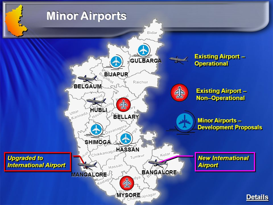 Minor Airports Details Existing Airport – Operational