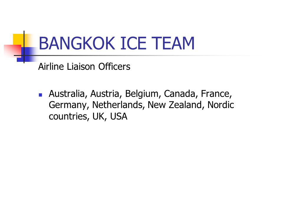 BANGKOK ICE TEAM Airline Liaison Officers