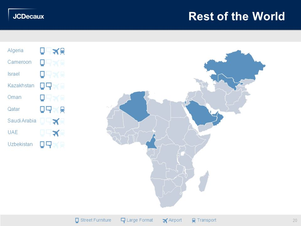 Rest of the World Algeria Cameroon Israel Kazakhstan Oman Qatar