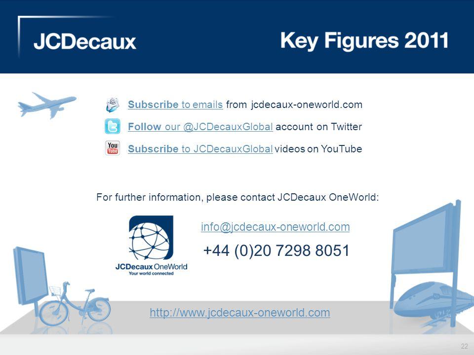 +44 (0)20 7298 8051 info@jcdecaux-oneworld.com
