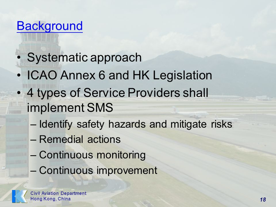 ICAO Annex 6 and HK Legislation