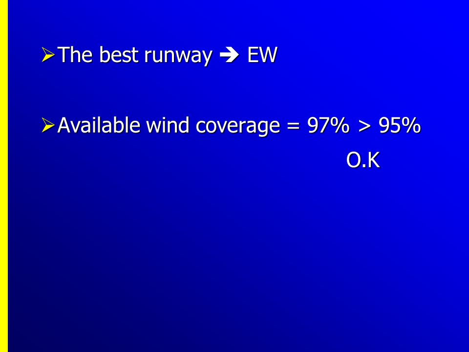 The best runway  EW Available wind coverage = 97% > 95% O.K
