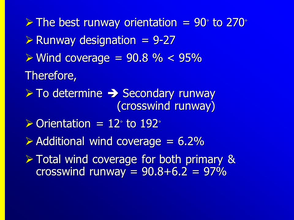 The best runway orientation = 90◦ to 270◦