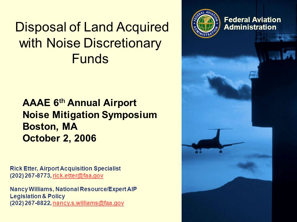 Disposal of Land Acquired with Noise Discretionary Funds