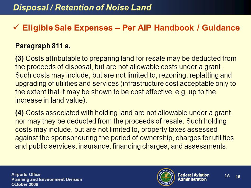 Disposal / Retention of Noise Land