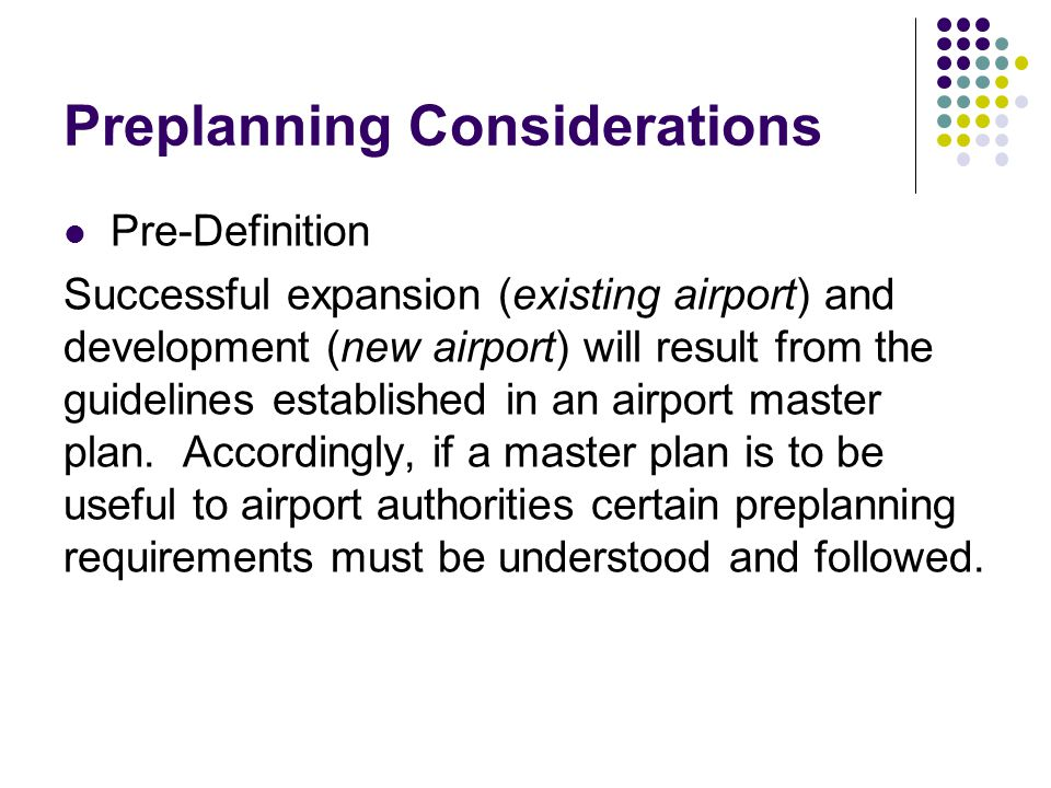 Preplanning Considerations