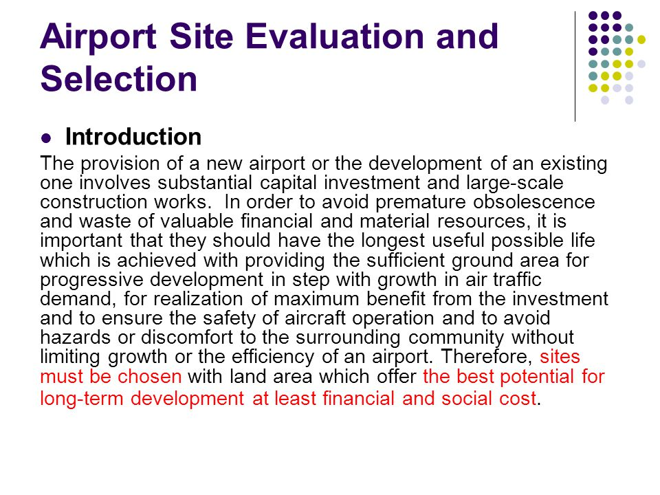 Airport Site Evaluation and Selection