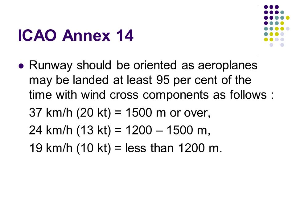 ICAO Annex 14 Runway should be oriented as aeroplanes may be landed at least 95 per cent of the time with wind cross components as follows :