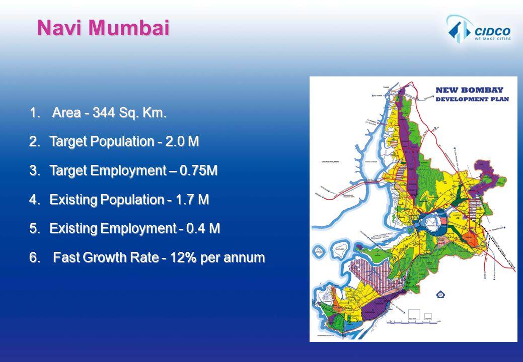 Navi Mumbai Area - 344 Sq. Km. Target Population - 2.0 M