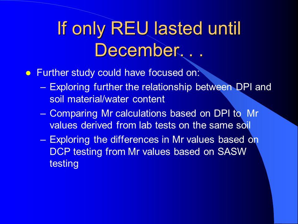 If only REU lasted until December. . .