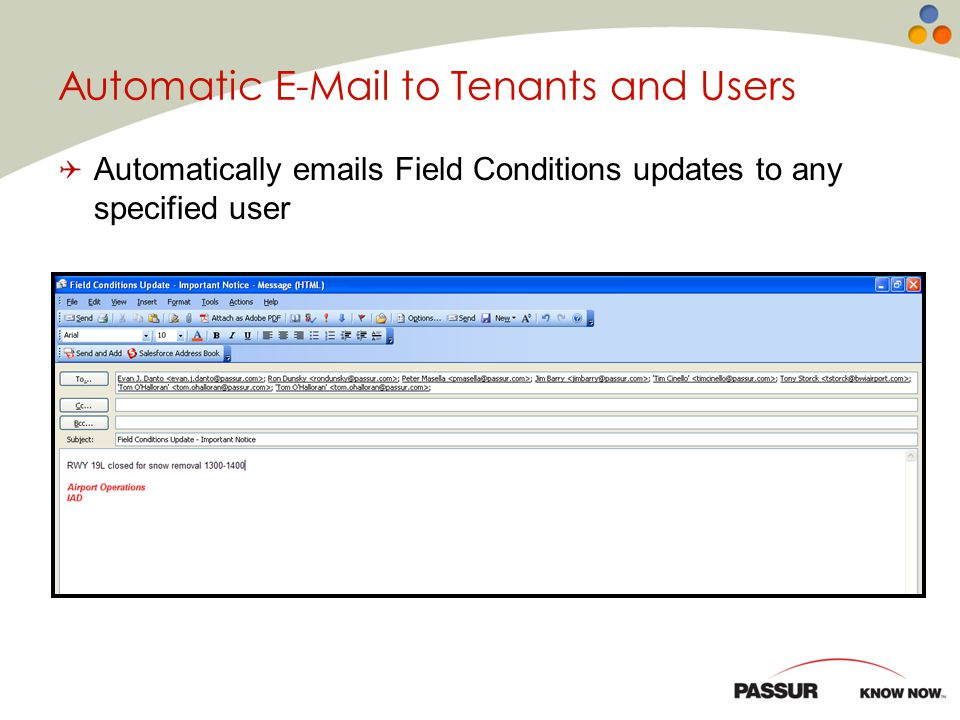 Automatic E-Mail to Tenants and Users