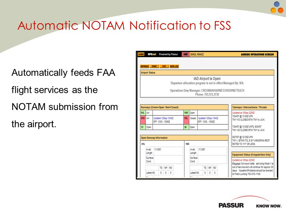 Automatic NOTAM Notification to FSS