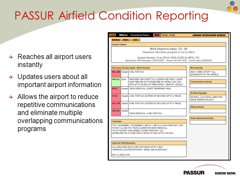 PASSUR Airfield Condition Reporting