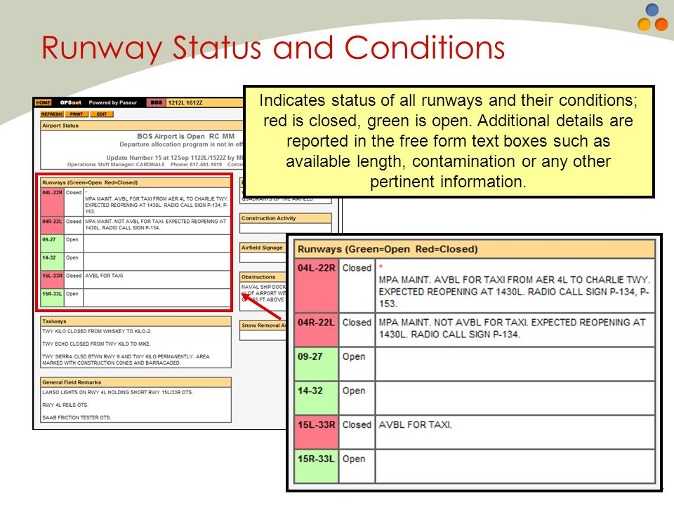 Runway Status and Conditions