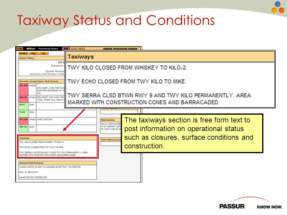 Taxiway Status and Conditions