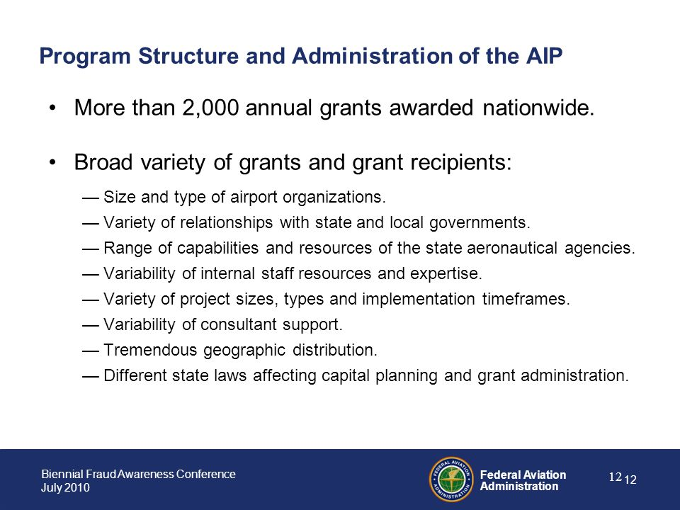 Program Structure and Administration of the AIP