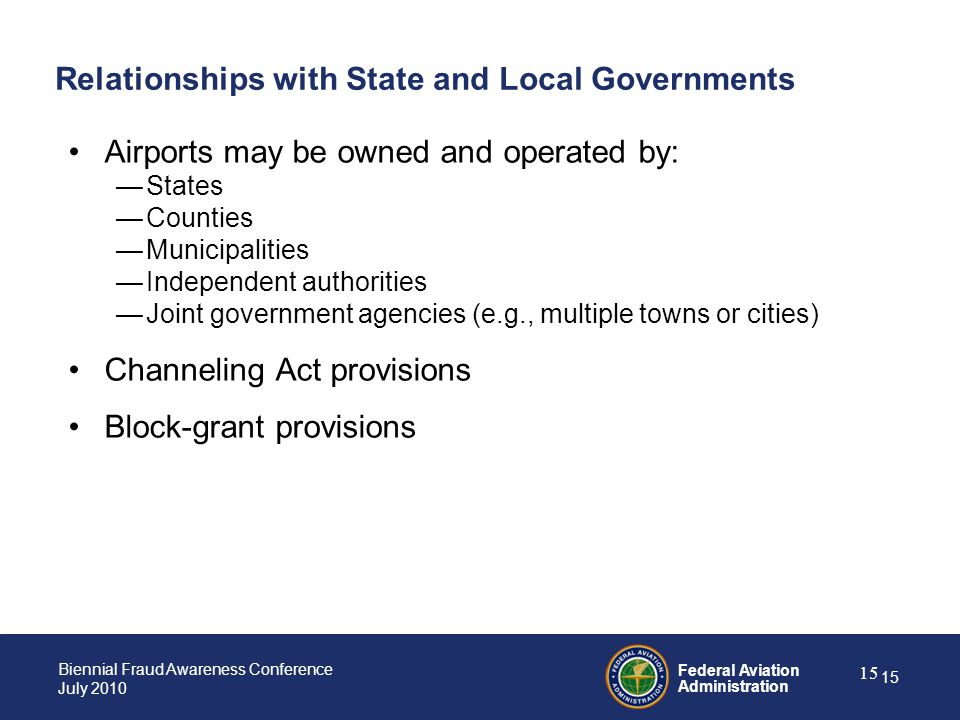 Relationships with State and Local Governments