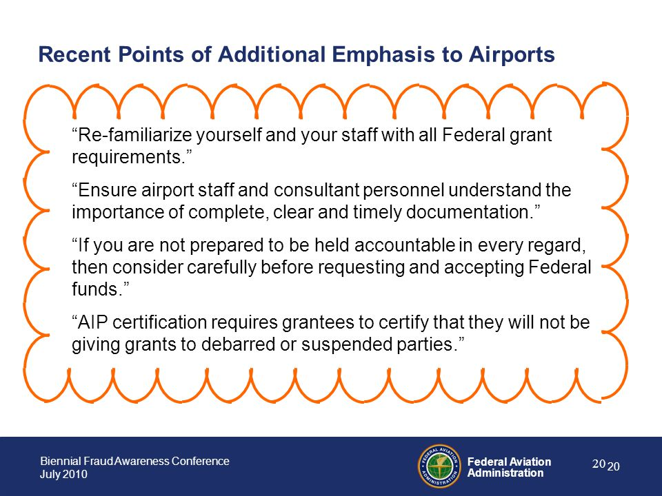 Recent Points of Additional Emphasis to Airports