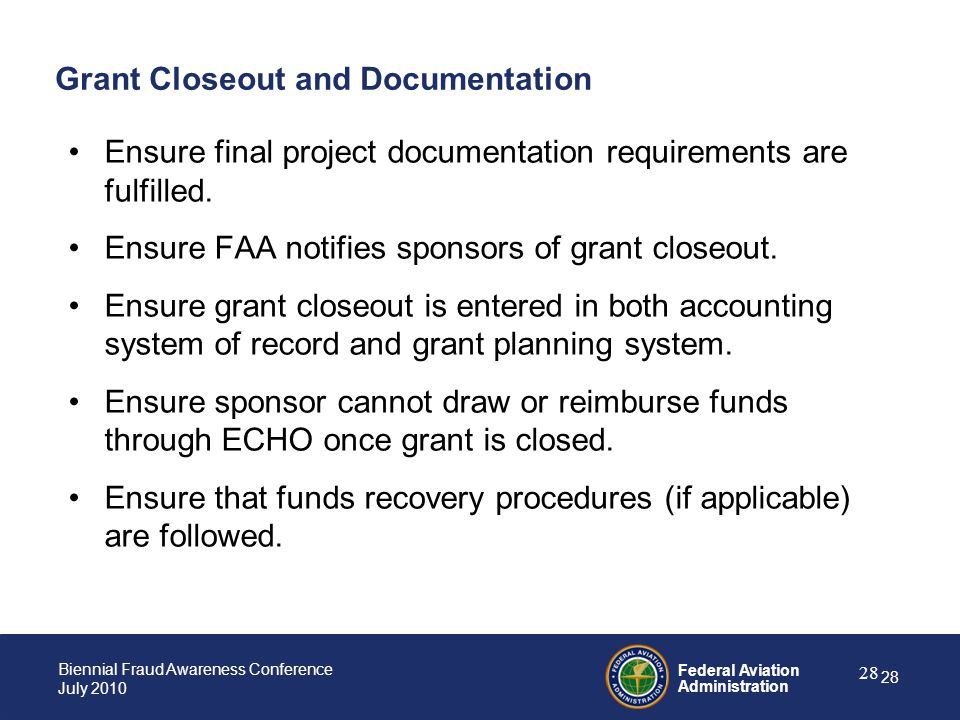 Grant Closeout and Documentation