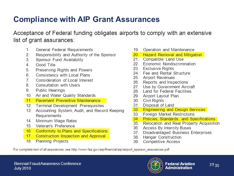 Compliance with AIP Grant Assurances