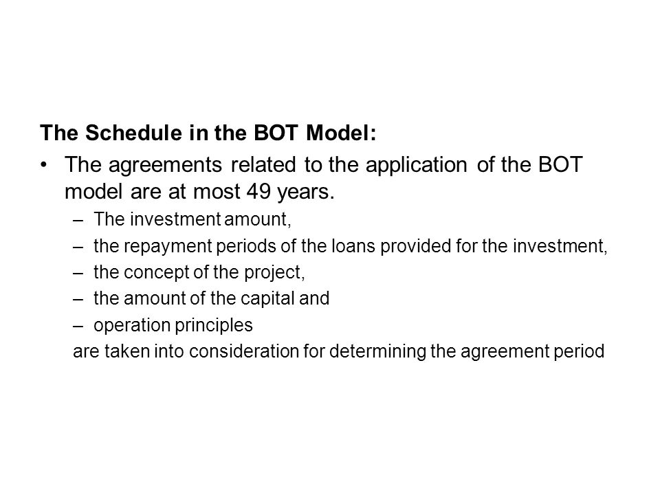 The Schedule in the BOT Model: