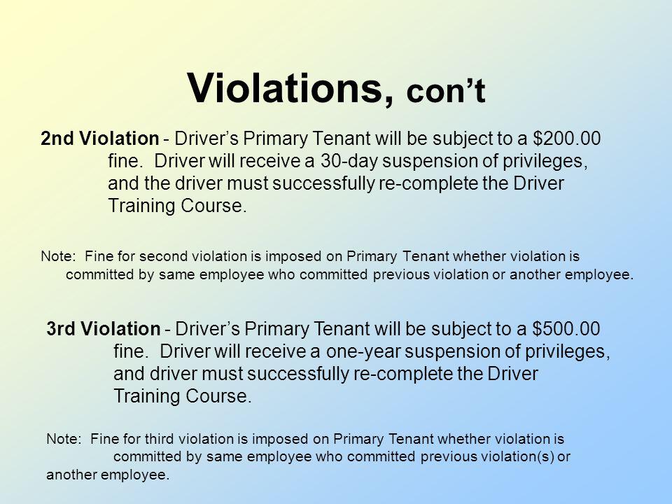 Violations, con't
