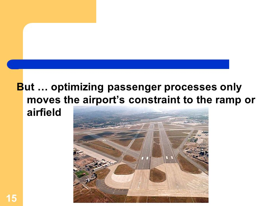 But … optimizing passenger processes only moves the airport's constraint to the ramp or airfield