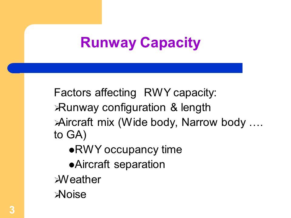 Runway Capacity Factors affecting RWY capacity: