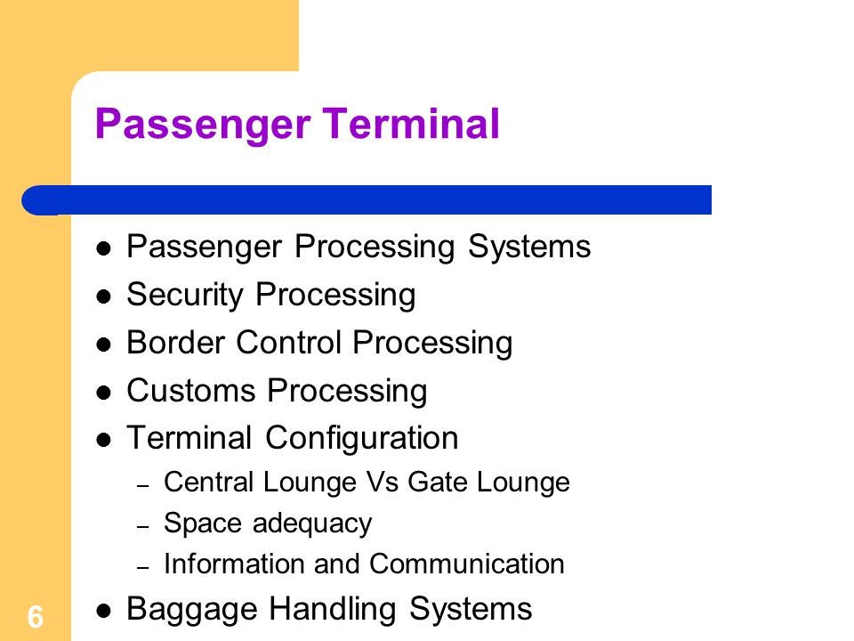 Passenger Terminal Passenger Processing Systems Security Processing