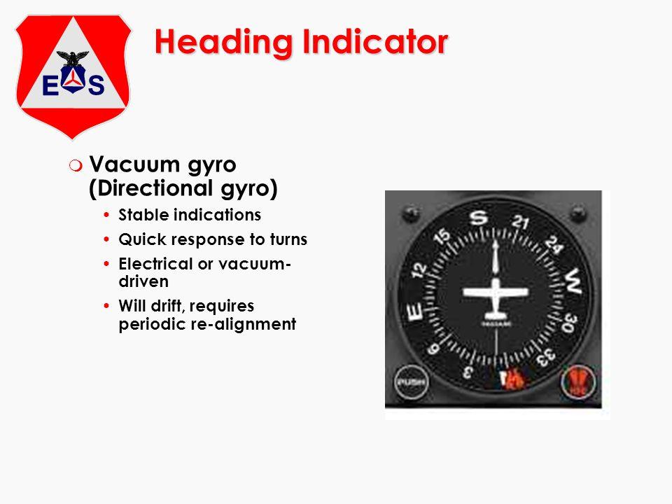 Heading Indicator Vacuum gyro (Directional gyro) Stable indications