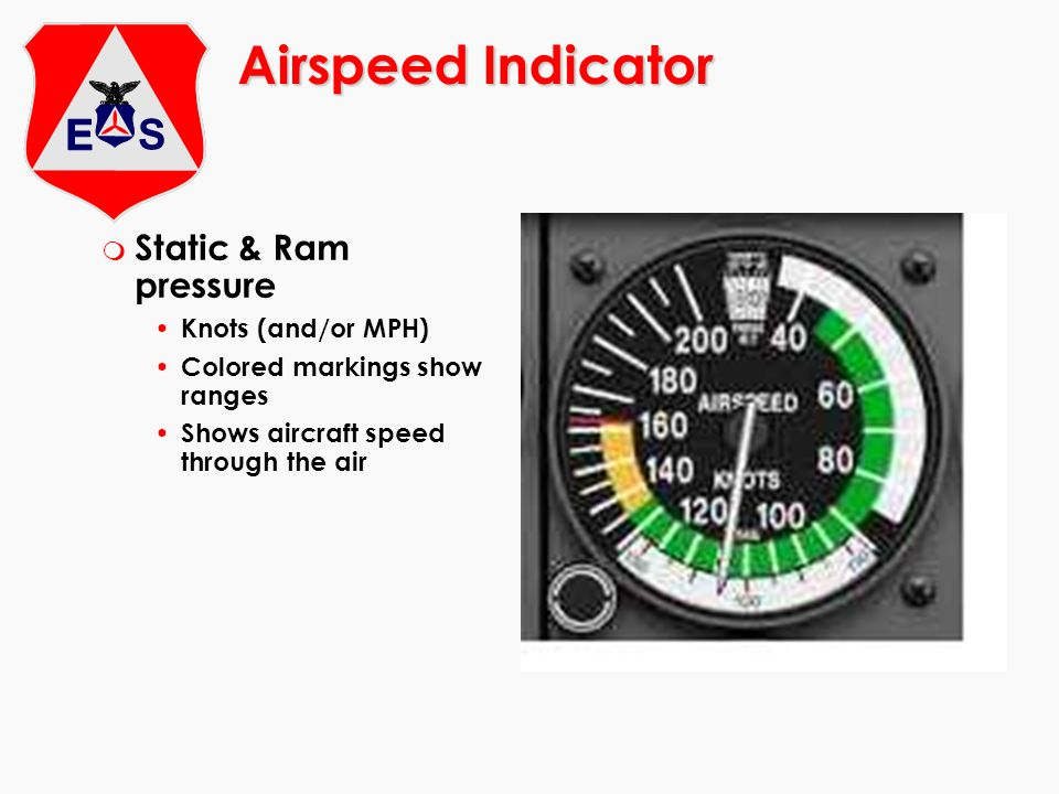 Airspeed Indicator Static & Ram pressure Knots (and/or MPH)