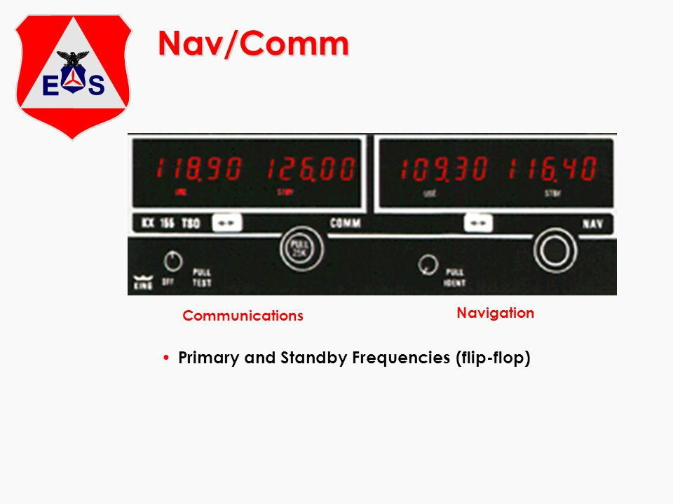 Nav/Comm Primary and Standby Frequencies (flip-flop) Navigation