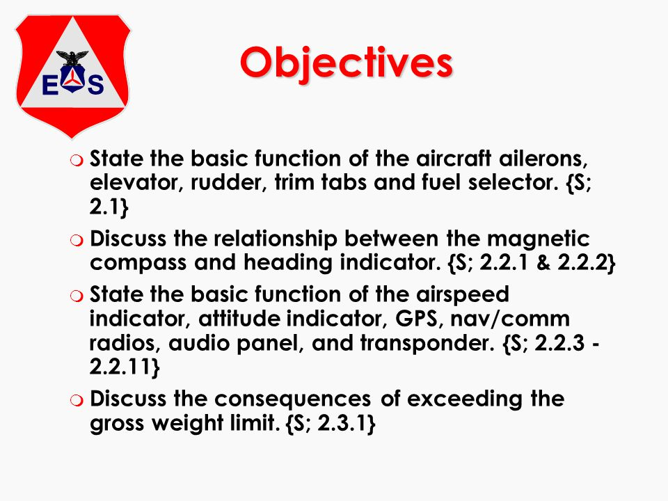 Objectives State the basic function of the aircraft ailerons, elevator, rudder, trim tabs and fuel selector. {S; 2.1}