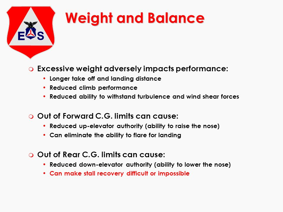 Weight and Balance Excessive weight adversely impacts performance: