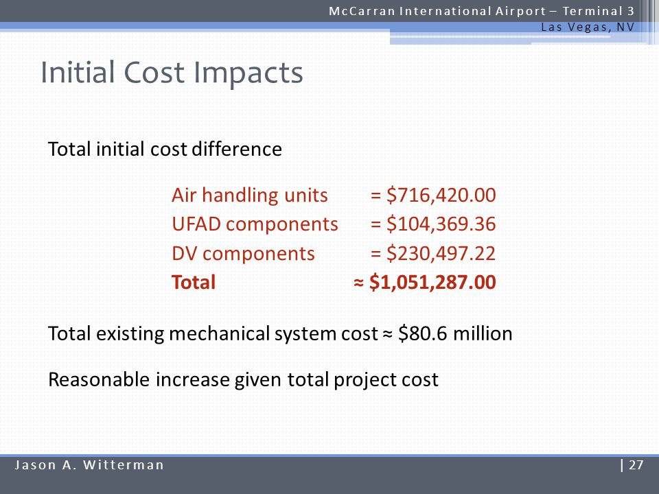 Initial Cost Impacts Total initial cost difference = $716,420.00