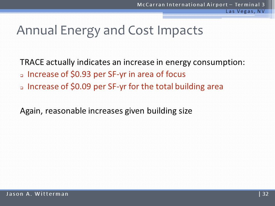 Annual Energy and Cost Impacts