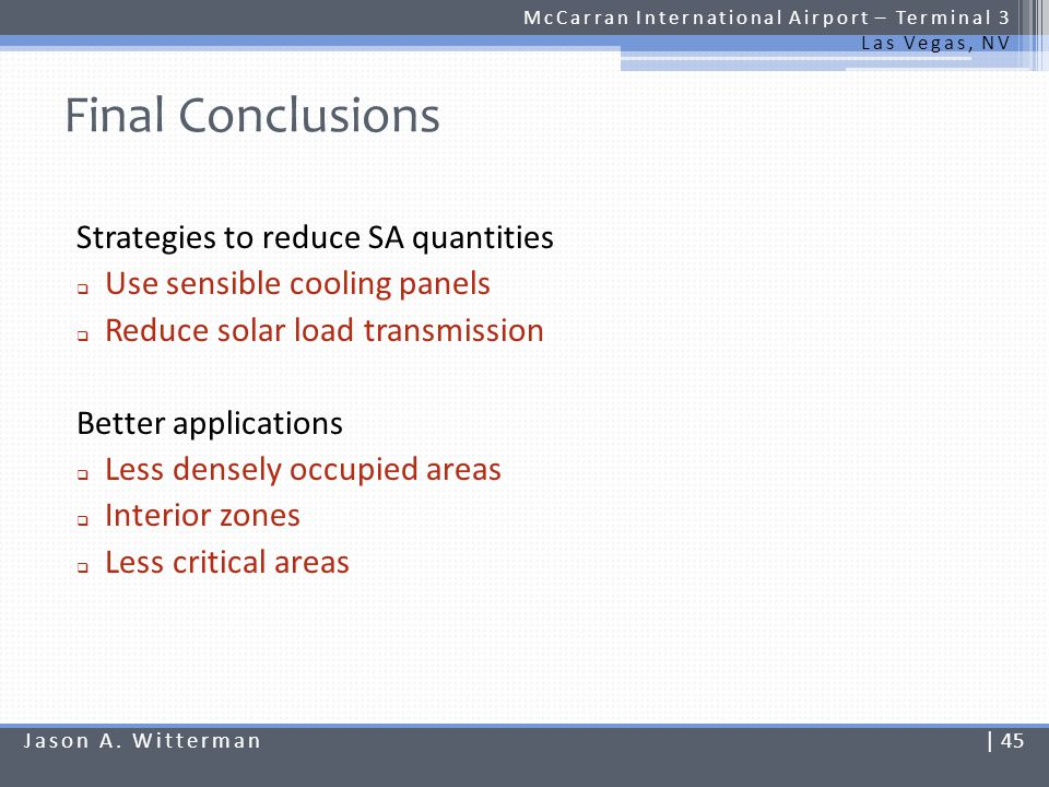 Final Conclusions Strategies to reduce SA quantities