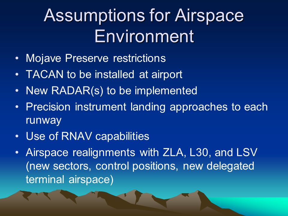 Assumptions for Airspace Environment