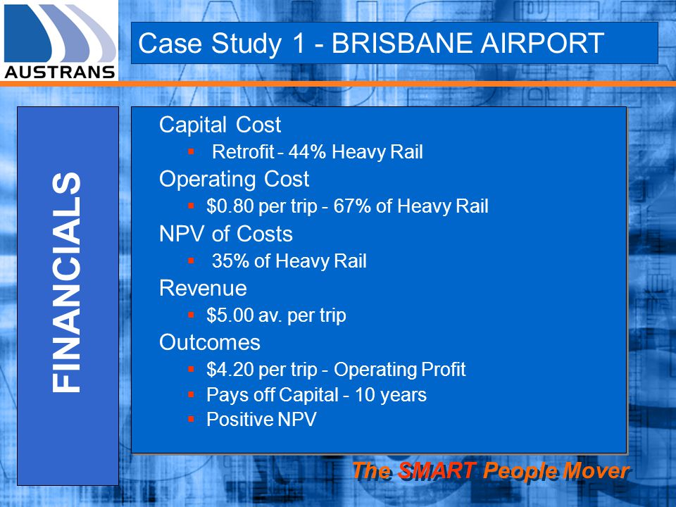 FINANCIALS Case Study 1 - BRISBANE AIRPORT Capital Cost Operating Cost