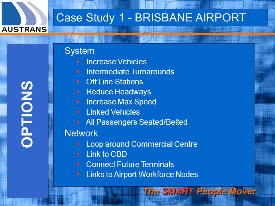 OPTIONS Case Study 1 - BRISBANE AIRPORT System Network