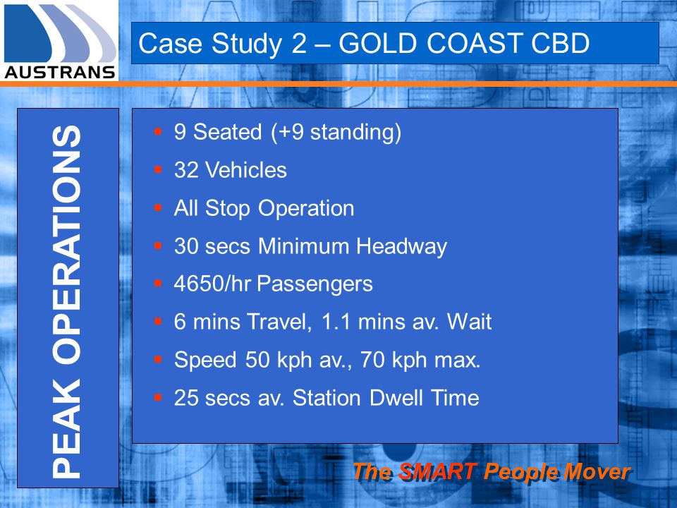 PEAK OPERATIONS Case Study 2 – GOLD COAST CBD 9 Seated (+9 standing)