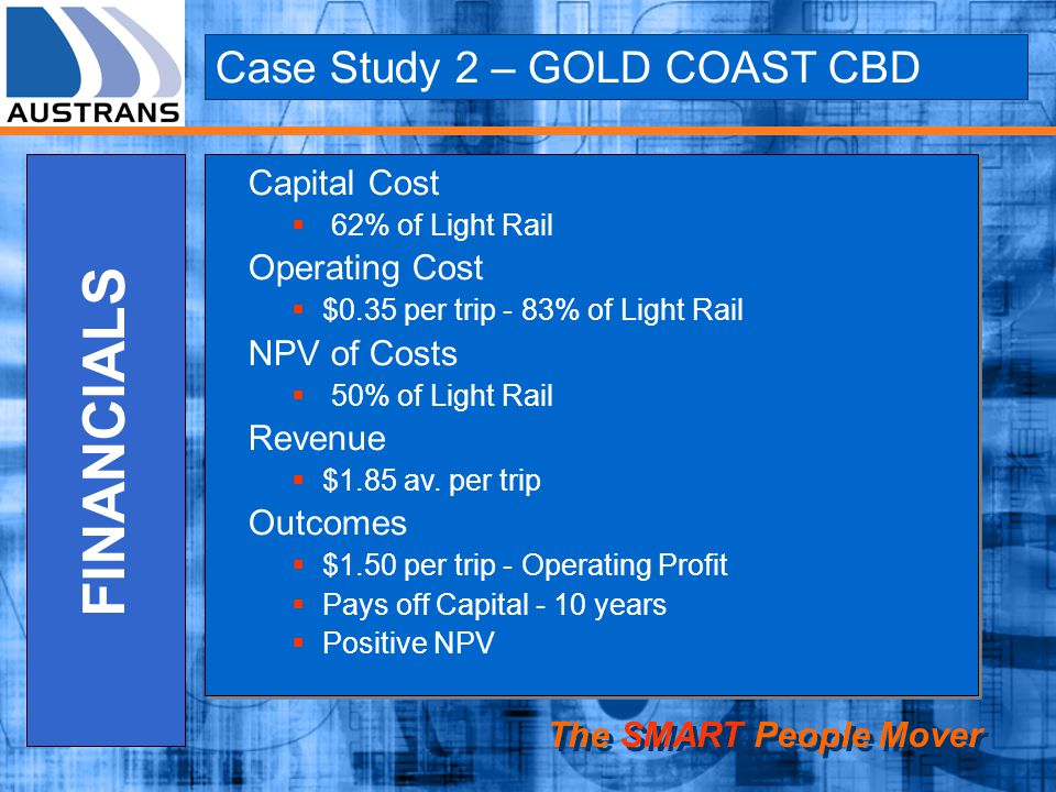 FINANCIALS Case Study 2 – GOLD COAST CBD Capital Cost Operating Cost