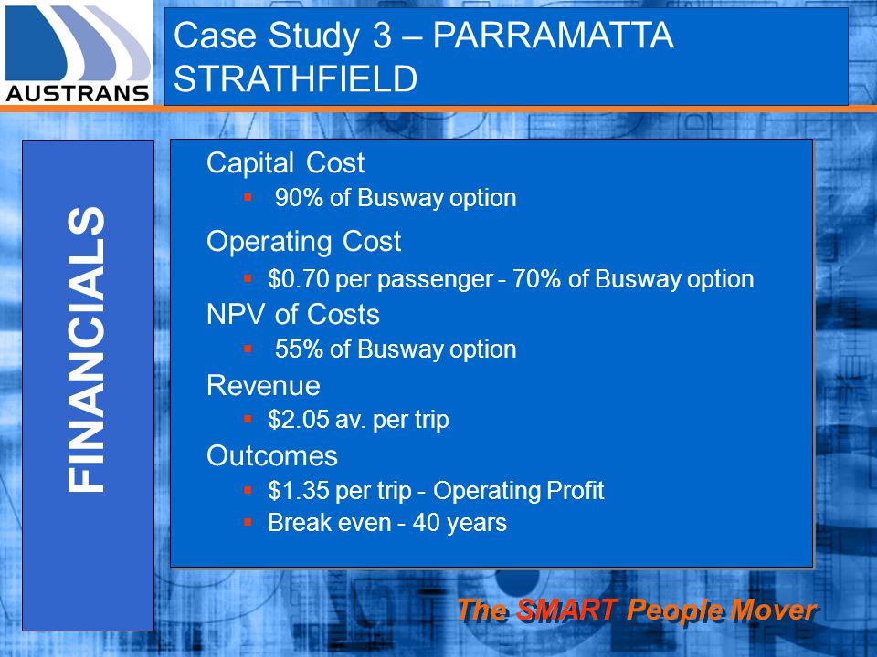 FINANCIALS Case Study 3 – PARRAMATTA STRATHFIELD Capital Cost